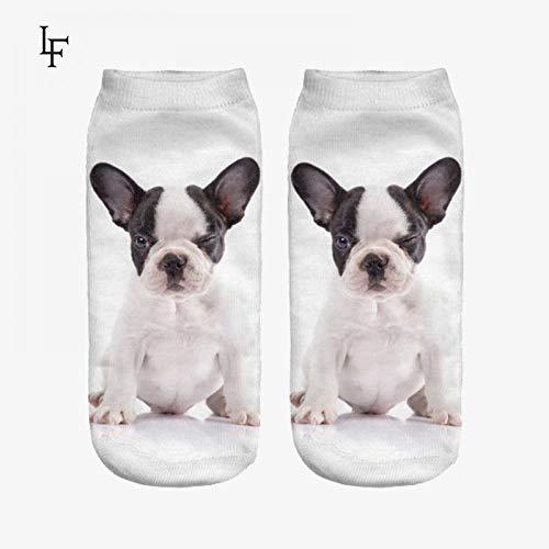 FHCGWZ 5psc/Set Nuevo 3D Imprimir Lindo Bulldog Calcetines Mujeres Low Cut...