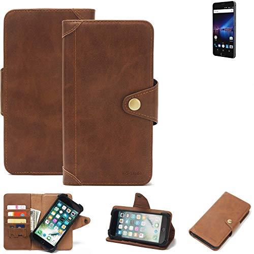 K-S-Trade Handy Hülle für Phicomm Passion 4 Schutzhülle Walletcase Bookstyle Tasche Handyhülle Schutz Case Handytasche Wallet Flipcase Cover PU Braun (1x)