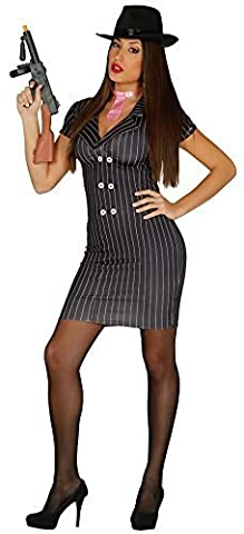 Ladies 1920s Sexy Black Pinstriped Pink Gangster Moll Bugsy Malone Fancy Dress Costume Outfit
