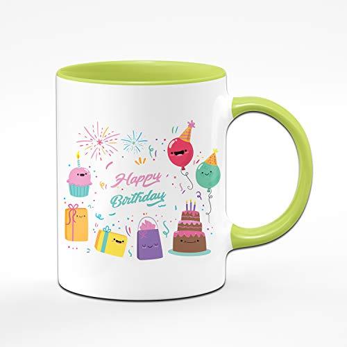 Tassenbrennerei Happy Birthday Tasse zum Geburtstag für Das Geburtstagskind - Geburtstagsgeschenk, Geschenk Tassen mit Sprüchen (Grün)