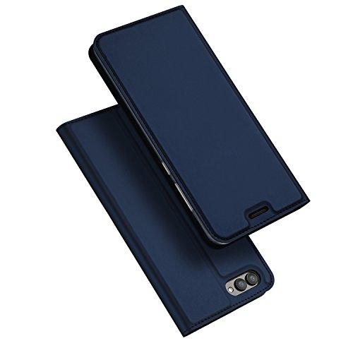 SMTR Huawei Honor View 10 Wallet Tasche Hülle - [Eingebauter Magnet][Ultra Slim][Card Slot] Flip Wallet Case Etui für Huawei Honor View 10 - Skin series blau (Doppelte Geldbörse Tasche)