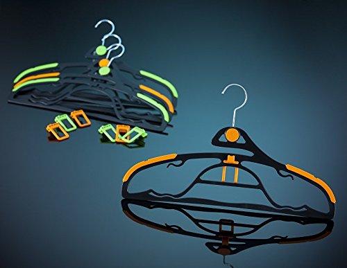 Luxin Antirutsch und Raumspar Kleiderbügel Set in Orange 10 Stück + 3 Aufhängerhacken
