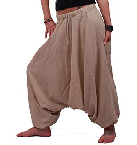 Harem Damen Jeans (KUNST UND MAGIE Orientalische Haremshose one Size in vielen Farben, Farbe:Hanffarben)