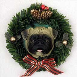 Pug Fawn Wreath Ornament (Set of 6) by Conversation Concepts