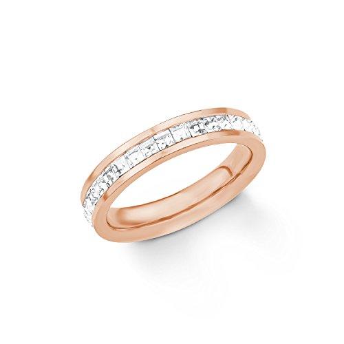 s.Oliver Damen-Ring Swarovski Kristall, Edelstahl teilvergoldet, weiß Gr. 58 (18.5), 2018553