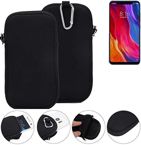 K-S-Trade Neopren Hülle für Xiaomi Mi8 Youth Schutzhülle Neoprenhülle Sleeve Handyhülle Schutz Hülle Handy Gürtel Tasche Case Handytasche schwarz