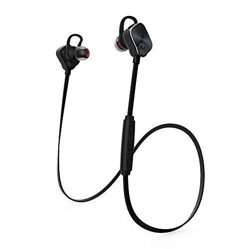 Mpow Magneto Wearable Stereo Wireless Bluetooth 4.1 Sport Earphones Running Headphones Headset with Mic Hands-free Calling and AptX for iPhone 6s ,iPhone 6s Plus, iPhone 6, 6 Plus, 5 5c 5s 4s ipad, LG G2, Samsung Galaxy S6 S5 S4 S3 Note 3 and Other Android Cell Phones, Black