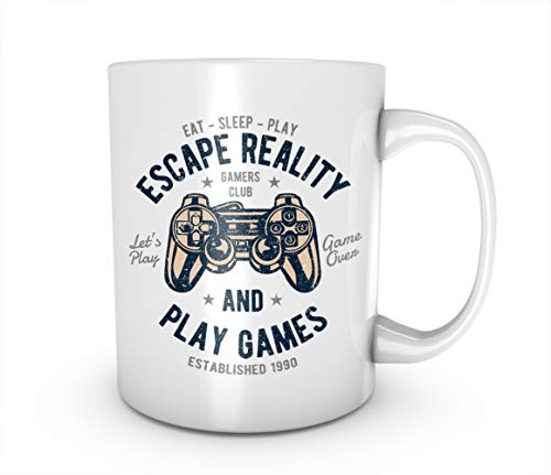 RiotBunny Eat Sleep Play Escape Reality Gaming Gamer Taza de cerámica Café...