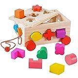 HERSITY Cubo de Clasificación de Forma de Juegos de Madera para Niños Juguete para Arrastrar