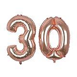 Globo gigante de oro rosa con número 30, 40 ''Mylar Foil Numero...