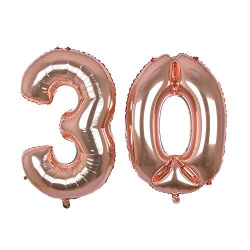 Globo gigante de oro rosa con número 30, 40 ''Mylar Foil Numero Globos de helio para 30 cumpleaños decoraciones suministros – helio flotante