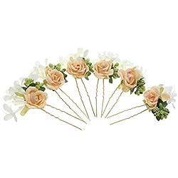 6pcs Horquillas de Flores Pelo de Palillo Guirnalda Accesorios Novia - Amarillo