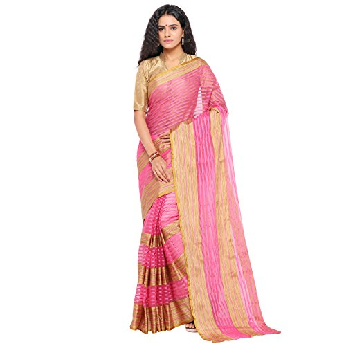 sarvagny clothing art silk pink color daily wear party wear saree with...