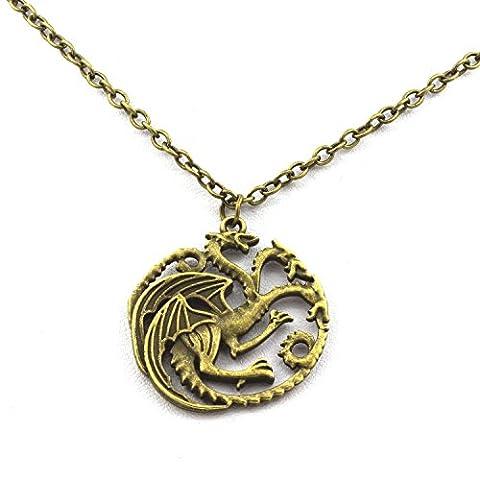 Pendentif Collier Game Of Thrones Targaryen Sigil Dragon. Couleur