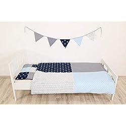 ULLENBOOM ® Kinderbettwäsche Blau Hellblau Grau (2tlg. Bettset: Kissenbezug 40x60 cm & Bettdeckenbezug 100x135 cm, mit Patchworkkissen)