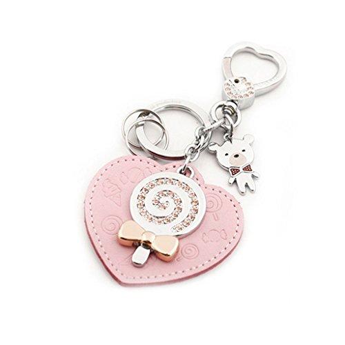 Cs Porte-clés Mâle et Femelle Voiture Porte-clés Chaîne Anneau Ornement Vachette Amour Coeur