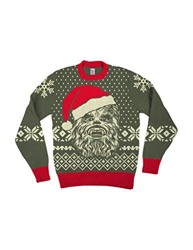 Weihnachten Erwachsene Sweatshirt (Star Wars Chewbacca Big Gesicht With Weihnachtsmann Hat Braun hässlich Weihnachten Sweater (Erwachsene Medium))