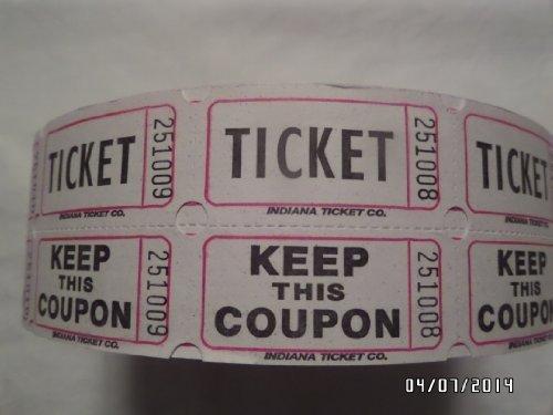 Raffle Tickets White 1000 per Roll 50/50 Fun Fair by Indiana Ticket Company