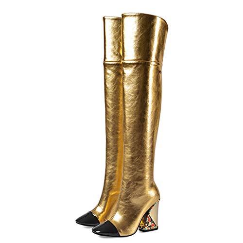 YQSHOES Zapatos De Cuero, Pedrería De Color, Tacones Dorados, Botas Por Encima De La Rodilla, Zapatos...