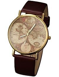 Patrón Mapa del vintage YPS las nuevas mujeres de los hombres redondos del dial de la mu?eca pu banda de cuarzo analógico reloj WTH1026