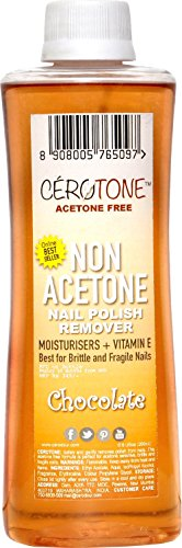 "CERO Cerotone CHOCOLATE Perfumed ""NON ACETONE"" Nail Polish Remover (ACETONE FREE best for Fragile / Brittle Nails) Moisturisers + Vitamin E (200ml)"
