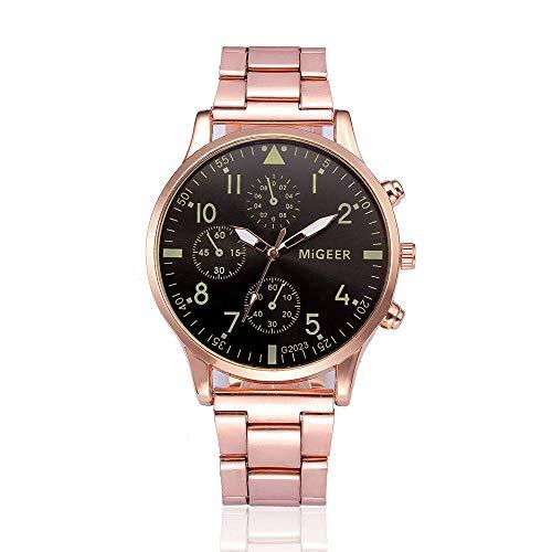 JYJM❤Herren Mode Herren Crystal Edelstahl Analoge Quarz-Armbanduhr Herren Sport-Uhren Wasserdichte Militär Analog-Digital Quarz mit Kalender Silikon Armband