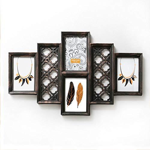 Fashioncraft Collage-Rahmen aus Kupfer, 10 x 15 cm, 4 Öffnungen, Vintage-Stil, zum Aufhängen, aufwendige Details, klassisch, handgefertigt, für Zuhause und Küche, Wand- und Tischbilderrahmen
