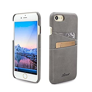 Airart iPhone 7 Card Case, Premium Vintage Soft Leather Wallet Case, Ultra Slim Professional Executive Snap On Back Cover with 2 ID Credit Card Slots Holder for iPhone 7 4.7 Inch, Grey