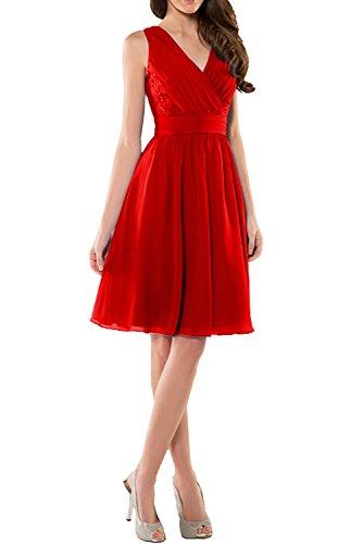 Charmant Damen Dunkel Blau Chiffon Abendkleider Kurz Festliche Kleider Ballkleid Brautjungfernkleid Mini Rot