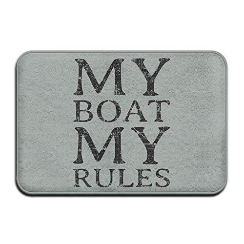 artyly Fußmatte Mein Boot Meine Regeln Willkommen Eingang Fußmatte Teppich Innen Außen Vorne Bad Küche Matten Gummi Super Saugfähig Rutschfeste 40x60 cm (Teppich Gummi Boot)