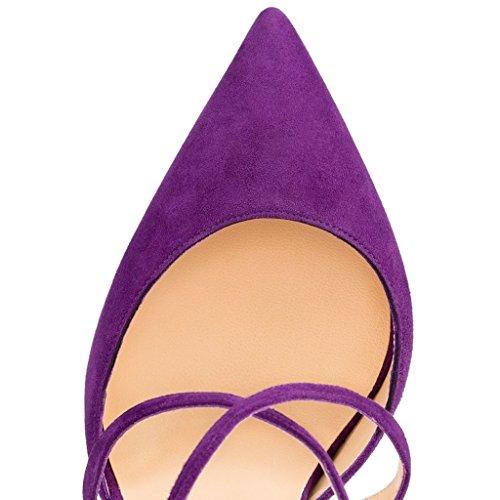 EDEFS- Femme Escarpins - Talon Haut - Daim Aiguille - Noir - Bride Cheville - Chaussures Soiree Violet