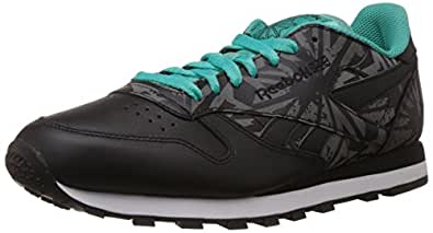 Reebok Classics Men's Cl Leather Reflect Black, White, Teal and Soft Black Synthetic Running Shoes - 7 UK