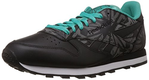Reebok Classics Men's Cl Leather Reflect Black, White, Teal and Soft Black Synthetic Running Shoes – 6 UK 41AE67NTP L