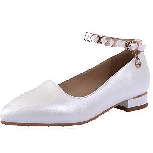 voguezone009-womens-pointed-closed-toe-low-heels-soft-material-solid-buckle-pumps-shoes-white-39