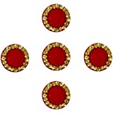Beauty Gold 5 Pc Red Designer Round Bindis For Women And Girl Forehead