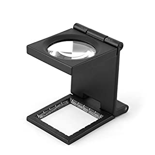 Yosoo 10X 28mm Mini Three-Folding 10X Magnifier Zinc Alloy Magnifier Magnifying Glass with Scale for Textile Optical Jewelry Tool