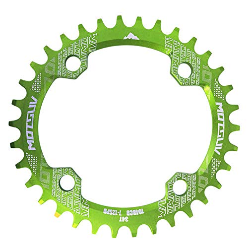 Duk3ichton Fahrrad-MTB-Kurbel 104BCD 32T / 34T / 36T / 38T Ovales rundes schmales breites Kettenblatt - Grün 32T Runde -