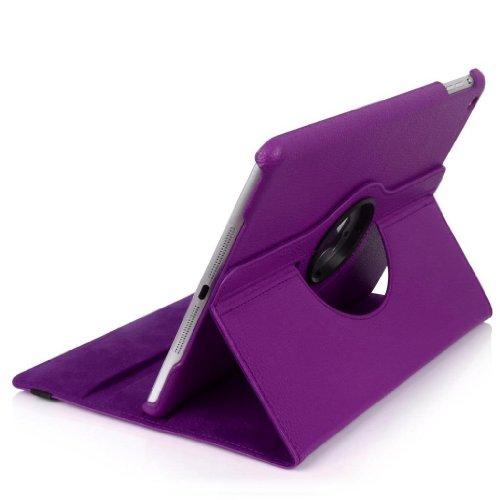 E2G Case Étui en similicuir PU avec support à rotation 360° pour iPad Stylet et film protecteur d'écran inclus iPad Mini Violet