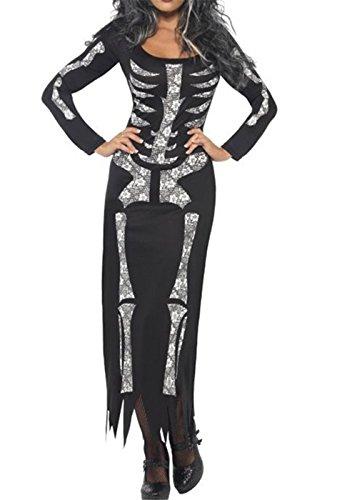 Tube Kleid mit langen Ärmeln Skeleton Kostüm (Plus Größe Lustige Kostüme Halloween)