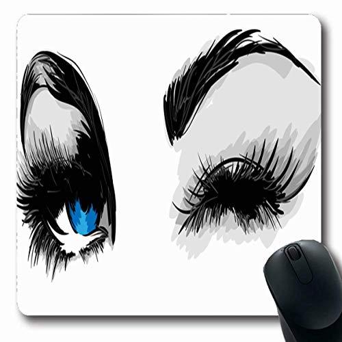 Sexy, Auge (Luancrop Mousepads Mädchen-Blaue sexy Augen-Augen-Make-upwimperntusche-Augenbrauen-Zusammenfassungs-Entwurfs-rutschfeste Spiel-Mausunterlage Gummilangmatte)