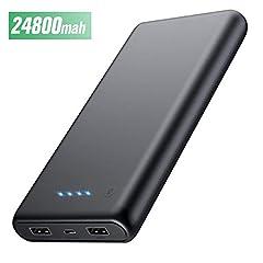 Idea Regalo - HETP Power Bank 24800mAh Batteria Esterna Caricabatteria Portatile ad Alta Velocità per Cellulare con 2 USB Porte Uscite, Batteria Portatile per Smartphone Dispositivi Mobili Tablet e Altro