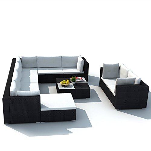 Festnight 32-tlg. Gartensofa Set mit 1 Teetisch Gartenlounge Garten Lounge-Set aus Polyrattan Loungegruppe Sitzgruppe für Terrasse Garten - Schwarz