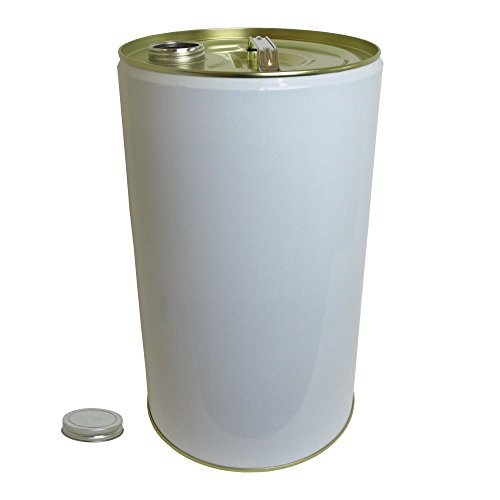 25 Litre Ltr L White Plain Tinplate Drum with 78mm Screw Neck Cap for Storage Oil Solvent Based Products Test