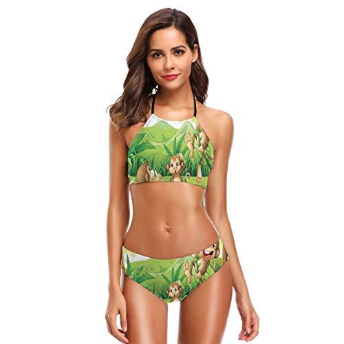Portraits Of Little Women (Digital Dot Featured Fun Monkey Face Portrait Little Geometrical Rounds Print Women's Beach Bikini 2 Piece Swimsuit XL)