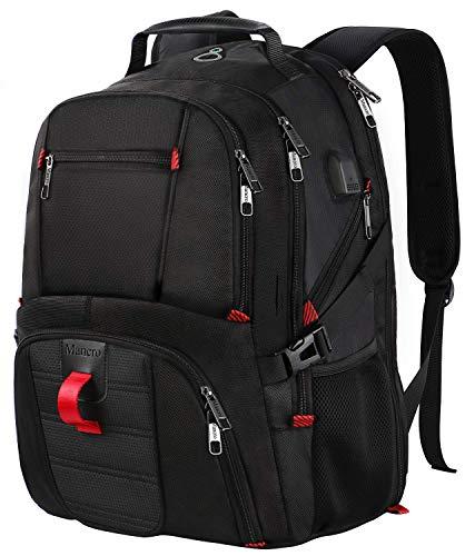 Rucksack Herren,17 Zoll Backpack Schulrucksack Daypack Multifunktion Business Notebook Taschen Wasserdicht Großer mit USB Ladeanschluss für Männer Schüler Jungen Teenager - Schwarz MEHRWEG