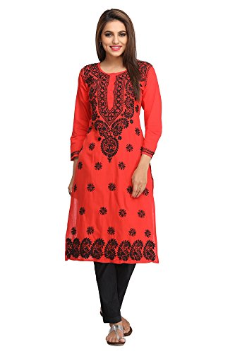 ADA Lucknow Chikan Hand Embroidered Regular Wear Cotton Kurti ( A188214 _Red)