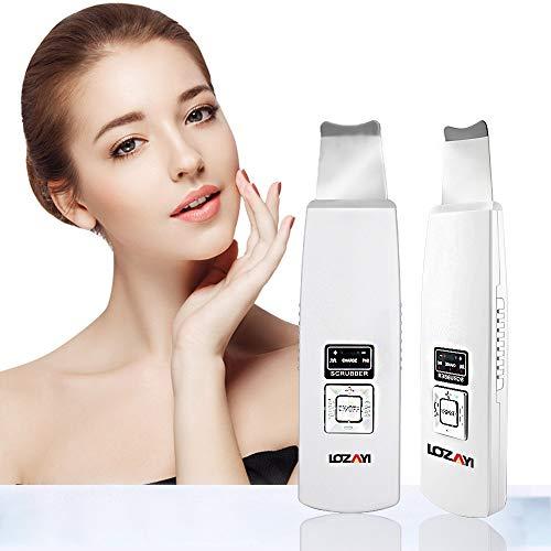 Facial Skin Scrubber, LOZAYI tragbares Peeling Elektrischer SPA-sanfter Mitesserentferner, Ultraschall-Peeling Porenreiniger, wiederaufladbar für Poren-Tiefenreinigung und Facial Lifting Werkzeug