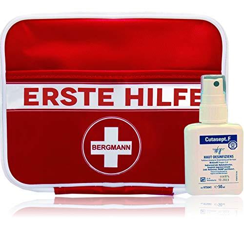"""2 in 1 Erste Hilfe Set\""""BERGMANN\"""" 【125 teilige Deutschsprachiger Inhalt】+ GRATIS Cutasept Desinfektionsmittel + 1. Hilfe für den Notfall, Wandern, Reise, Zuhause und Kinder"""