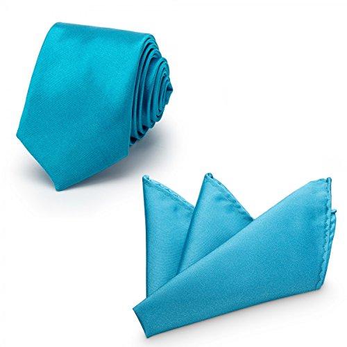 Rusty Bob - Krawatte mit Einstecktuch (in vielen Farben) - für die Verlobung, die Hochzeit - Schlips mit Taschentuch für das Sakko - 2er-Set - Royalblau