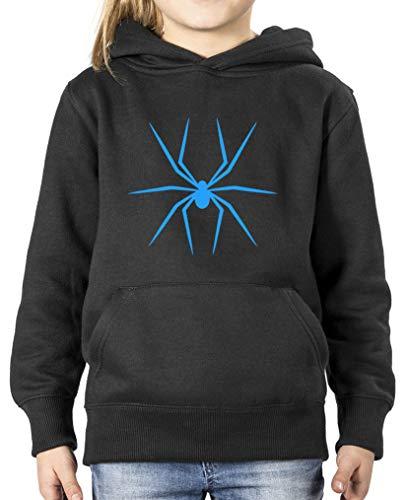 Comedy Shirts - Halloween Spinne - Mädchen Hoodie - Schwarz/Blau Gr. 134/146
